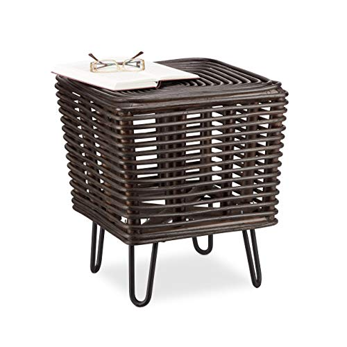 Relaxdays Rattan Sitzhocker, quadratischer Fußhocker, Design Hocker m. Metallbeinen, braun