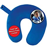 My Perfect Nights Premium Travel Pillow (Blue) Sleep with NO Neck Pain, Super Soft Memory Foam Neck Pillow Easy Washing with Removable Cover