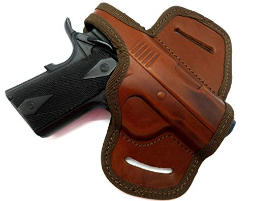 """HOLSTERMART USA by CEBECI Brown Leather Right Hand OWB Mini Belt Slide Holster with Thumb Break for Any 3"""" 1911, Kimber Ultra Carry II, Ultra CDP II, Springfield EMP, Micro Compact 45, etc."""
