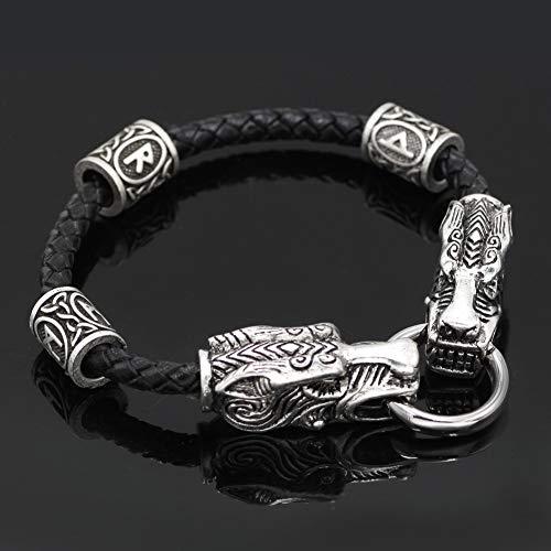 CNZXCO Brazalete Vikingo, Pulsera Vikinga Hombre, Amuletos De La Suerte Y Proteccion, Vintage Dominant Vikings Dragon Head Pulsera, Joyería De Cuero, Pulsera De Los Hombres (Size : 23cm)