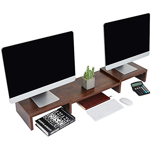 Superjare Updated Monitor Stand Riser, Adjustable Screen Stand for Laptop Computer/TV/PC, Multifunctional Desktop Organizer - Walnut Brown