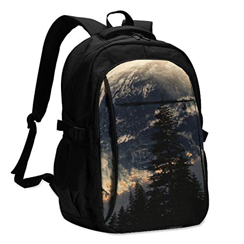 544 Sky Multifunctional Printed Backpack for Adults and Kids USB School Bag