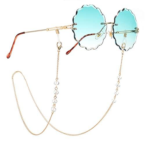 Diaod Lectura de Cristal Transparente Gafas de Sol Cadenas Cuentas Mujeres Accesorios de cordón Gafas de Sol Sostenga Correas Cordones (Color : A, Size : Length-70CM)