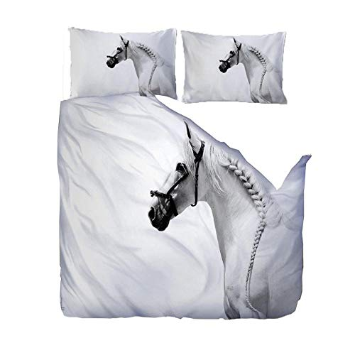 Duvet Cover Set 3D Super King/220x260cm/86.5x102 inchesWhite animal horse 3D Designs Duvet Cover With 2 Pillowcases 3D Printed Bedding Set With Zipper Closure Soft Microfiber Double Duvet Cover Set