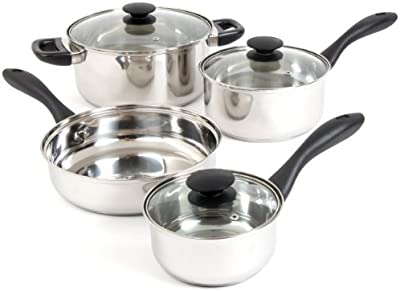 Gibson Home 91943.07 Silver Stream 7-Piece Cookware Set, Glass Lid, Mirror Polish by Gibson Home