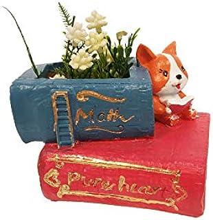 Wonderland Cute Coorgi Dog Reading Book Succulent Pot, Planter of Resin for Home, Garden, Desk Decor Decoration Gift Gifting