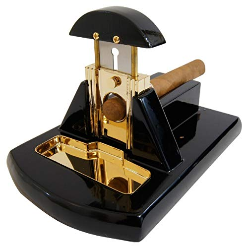 Desk Table Top Cigar Cutter Glossy Black with Gold