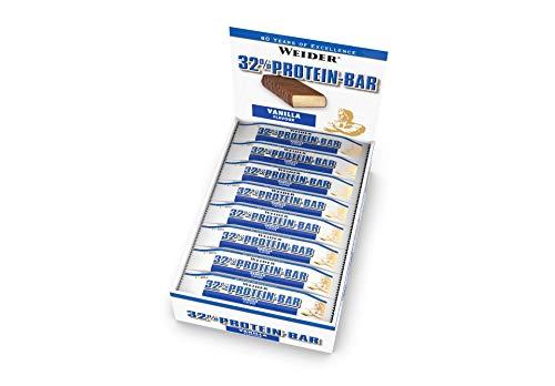 WEIDER 32% Protein Bar, Vanilla, 24 leckere Eiweißriegel mit zartem Schokoladenüberzug