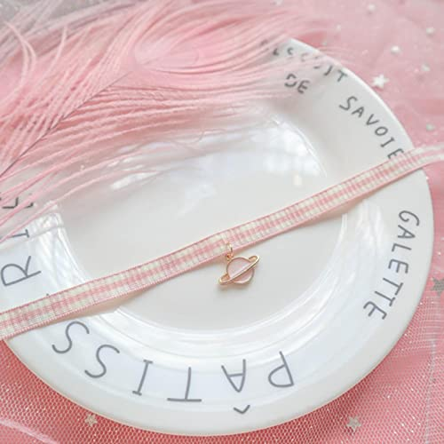 SONGK Collar de Cadena de clavícula de celosía Rosa/Azul a la Moda para Mujer, Colgante de Planeta para Mujer, Gargantilla de Fiesta, Collar, joyería