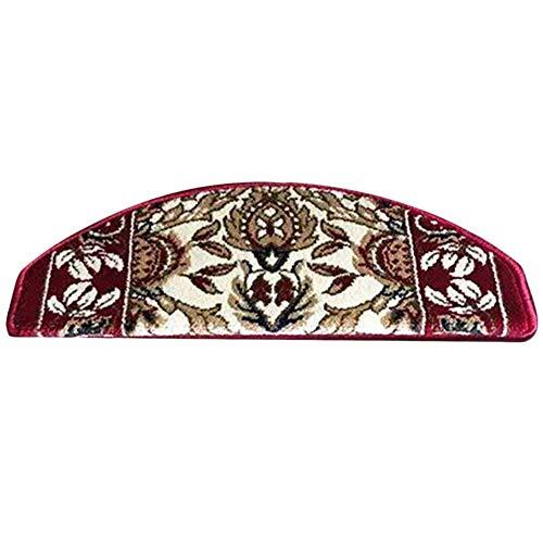 WJSWM Antiscivolo Self-Adesivo Scale Tappeto Passo tappetini 5 Pezzi Scala in Legno massello tappeti battistrada Pad, 12MM, su Misura (3 Colori, 2 Dimensioni: 65x (24 + 3) cm),C,65X(24+3) cm