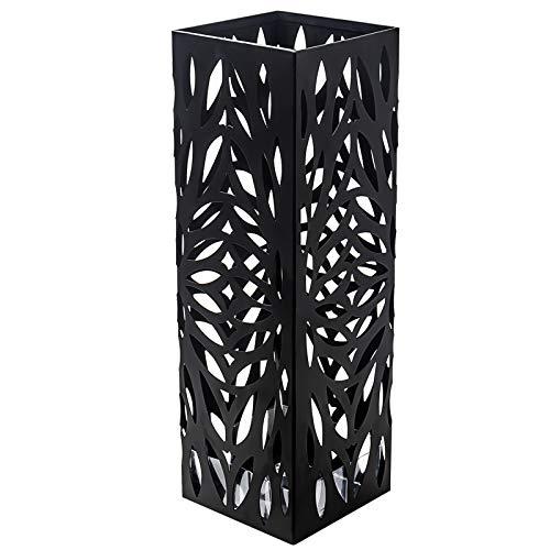 D4P Display4top Porta Ombrelli Metal 15,5 × 15,5 × 49 cm, Inclusi 4 Ganci e Vassoio antigoccia, Casa dell'ombrello Che può Essere utilizzata a casa o in Ufficio (Nero) (Piazza)