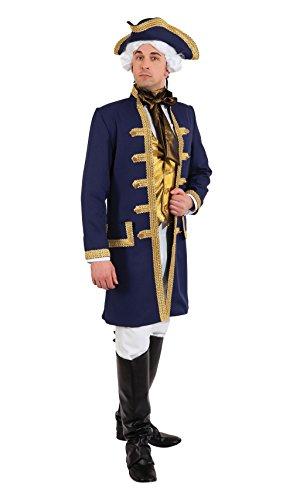 Bristol Novelty- Admiral Costume Disfraz de Almirante, Color azul/dorado, 44-46-inch (AF055)
