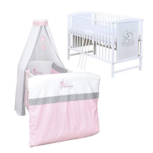 Baby Delux Babybett Komplett Set Kinderbett Mia weiß 120x60 Bettset mit Stickerei Matratze in vielen Designs (Princess Stars)