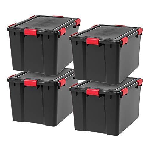IRIS USA UCB-LDD WEATHERTIGHT Storage Box, 74 Quart, Black, 4 Pack