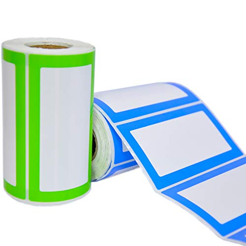 Etiquetas Adhesivas de Nombre Colores - 2 Rollos con 500 Pegatinas en Total - 9 x 5 cm - Etiquetas Personalizadas para...