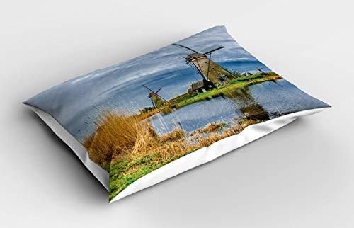 ABAKUHAUS Nederlands Siersloop voor kussen, Molens van Kinderdijk Photo, standaard maat bedrukte kussensloop, 90 x 50 cm, Veelkleurig