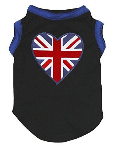 Petitebelle - Vestido para perro, diseño de corazón británico, color azul y negro