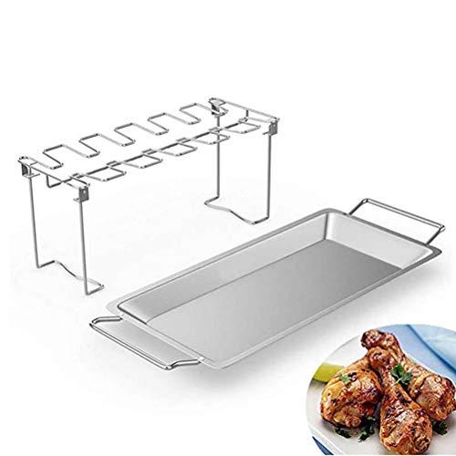 Asolym Hähnchenschenkel Halter mit Auffangschale, Hähnchenschenkel Halter mit Platz für 12 Keulen, Gleichmäßig Gegarte Hähnchenkeulen aus dem Backofen oder vom Grill(2 Pack)