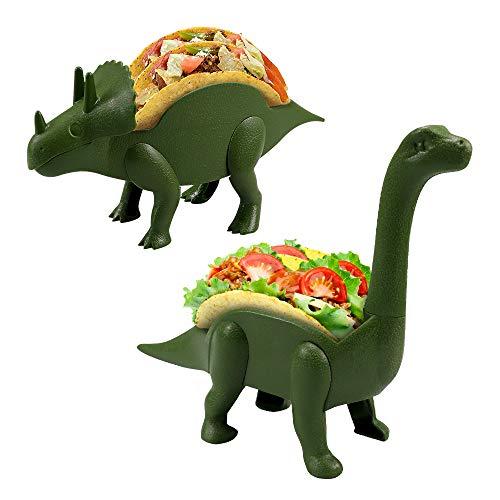 Dinosaur Taco Holder Set- Ultrasaurus and Triceratops Taco Stand hold 4 Tacos, Kids Plastic Novelty Dino Jurassic Taco Plates for Birthday Party Taco Tuesday (Dinosaur)