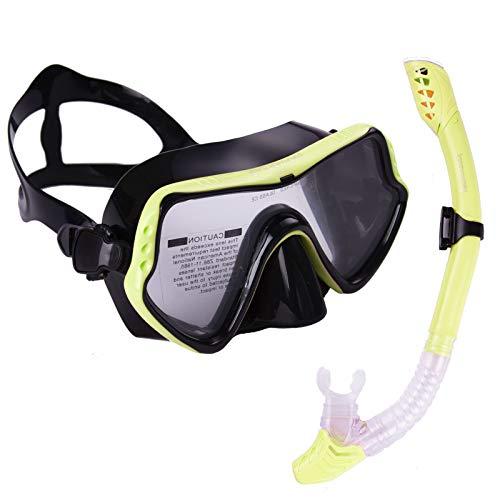 Joomouney Taucherbrille Set Erwachsene und Jugendliche Schnorchelset mit Dry Schnorchel Tauchmaske und Anti-Fog Anti-Leck Schnorchelmaske für Schnorcheln Tauchmaske
