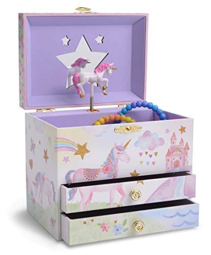 Jewelkeeper - Musikalische Schmuckschatulle mit 2 ausziehbaren Schubladen, Glitzer-Regenbogen und Sterne, Einhorn Design - The Unicorn Melodie