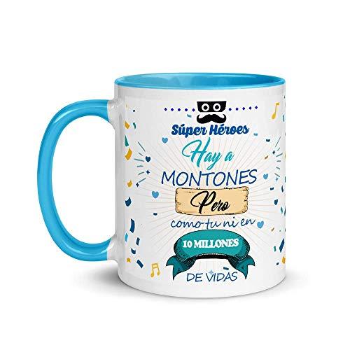 Kembilove Taza de Café Padre Superhéroe Hay a Montones Pero como Tú ni en 10 Vidas – Taza de Desayuno para Regalar el día del Padre – Tazas de Café y Té para Papá – Taza de Cerámica Azul de 350 ml