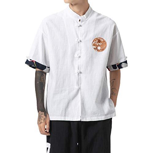Camisa de Media Manga de Estilo Chino para Hombre, Cuello Alto de Moda, botón de Personalidad Informal, Camisas de Ajuste Regular de Gran tamaño L