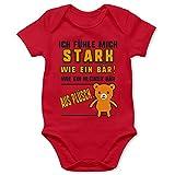 Shirtracer Strampler Motive - Ich fühle Mich stark wie EIN Bär! Teddy-Bär - 12/18 Monate - Rot - Baby Strampler Junge - BZ10 - Baby Body Kurzarm für Jungen und Mädchen