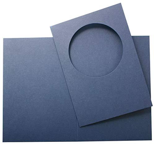 4 Passepartout-Doppelkarten Kreis-Ausschnitt A6 m.Umschlägen versch.Farben (dunkelblau)