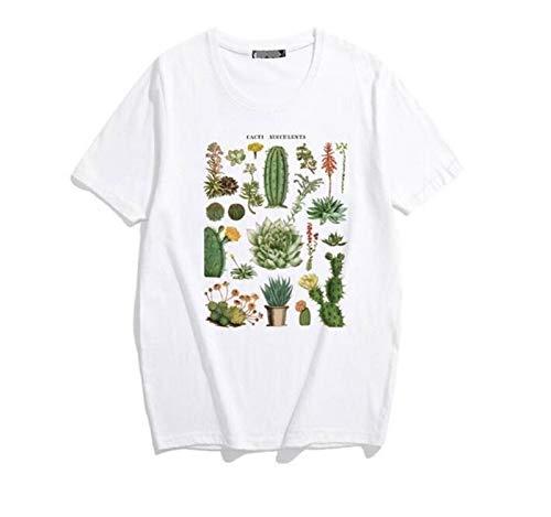 Pflanze Kaktus Fleischige Buchstabedruckes Weiblicher T-Shirt Sommer Loser O-Ansatz Retro Damenbekleidung Comfortable (Color : 1 White, Size : XXL.)