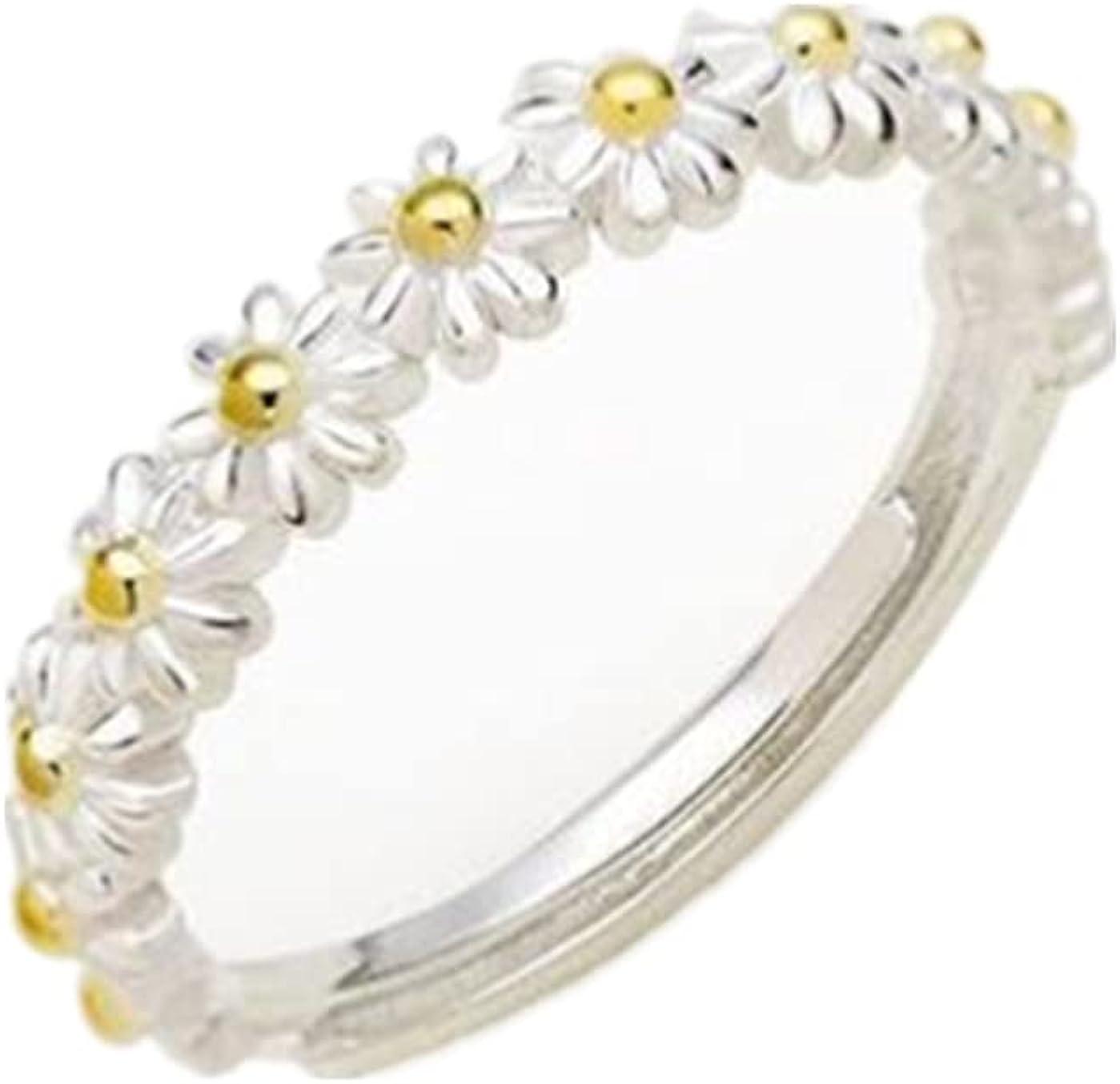 Pingyongchang Small Daisy Flower Ring Fashion Sweet Jewelry for Women Girls