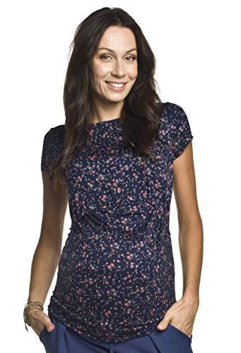Torelle Damen 2in1 Umstandsshirt mit Stillfunktion, Modell: GAJA, Kurzarm, dunkelblau mit Blumen, S