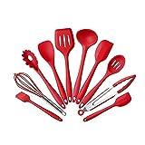 WANGJ Kitchen Utensils Set- 10 pcs Silicone Kitchen Utensils Set Non-Stick Kitchenware Cooking Tools Spoon Spatula Ladle Egg Beaters Tools Gadget -Cooking Tool Set for Non-Stick Pan