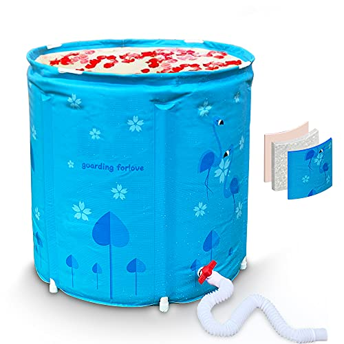 Portable Foldable Bathtub For Adults, 30in Flamingo Freestanding Bath Tub, Easy to Install Bathtub Spa or Ice Bath Soaking Tub, Full Area Thickened Thermal Foam To Keep Temperature (Blue)