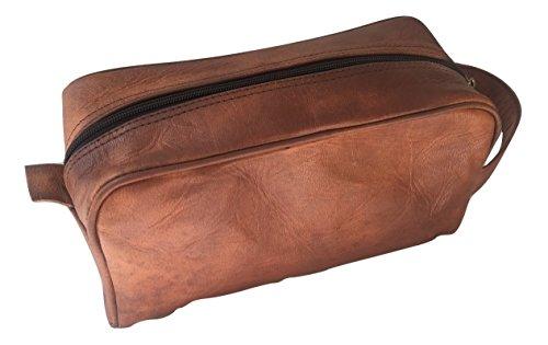 Leather Toiletry Bag For Men Genuine Leather Unisex Toiletry Travel Dopp Kit Shaving Kit Cosmetic Bag