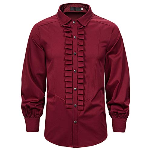 Herren Hemd Renaissance Steampunk Viktorianischen Langarm Shirt Tops Einfarbige...