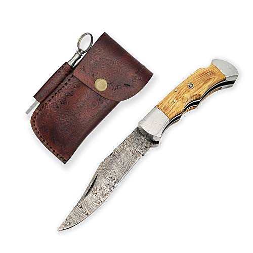 """Handmade 4"""" Damascus Steel EDC Pocket Folding Knife with Exotic Olivewood Handle, Authentic Handsewn Leather Sheath, and Steel Sharpening Rod Knife Set for Hunting Camping Fishing Hiking"""
