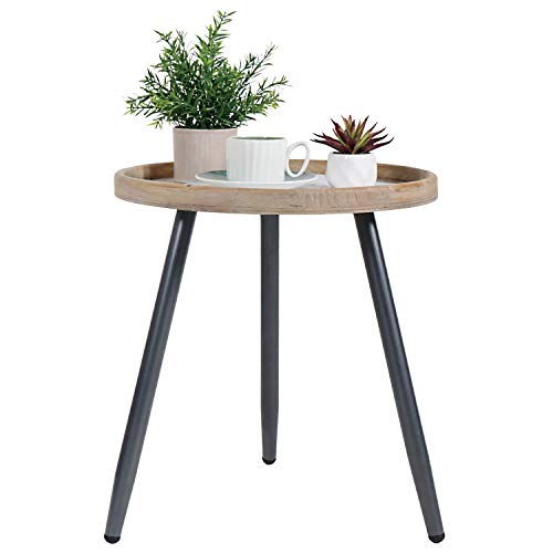 Tiita Mesa auxiliar mental redonda mesita de noche/pequeñas mesas de madera acento mesa de café con bandeja de madera para sala de estar, dormitorio, oficina, espacio pequeño (pequeño, marrón)