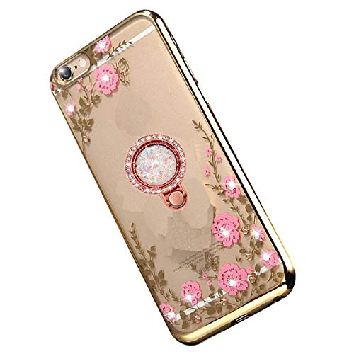 Miagon Glitzer Durchsichtig Transparent Blumen Schmetterling Galvanik Silikon Hülle mit 360 Grad Diamant Ring Ständer Strass Schutzhülle für Samsung Galaxy A30