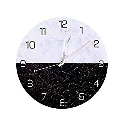 OURISE Modern Metal Wall Clock , 12 Inch Silent Non-Ticking Large Round Decorative Clocks for Living Room, Home, Office, School, Bedroom, Easy to Read ,Battery Operated (01)