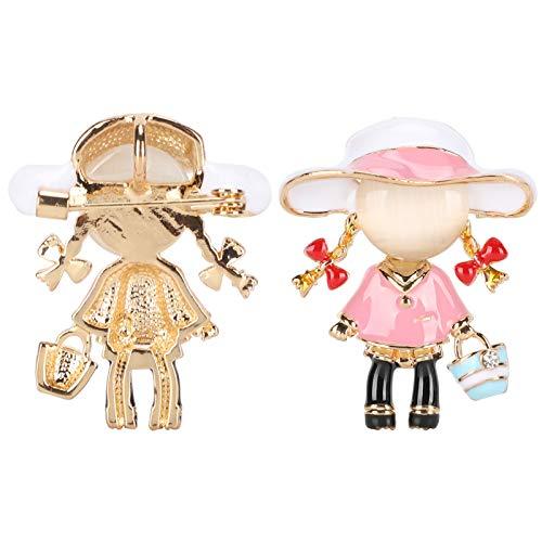 Leuke broche, draagbare duurzame stevige handige stijlvolle broche, huwelijksceremonies voor feesten Vrijetijdskleding(Pink girl)