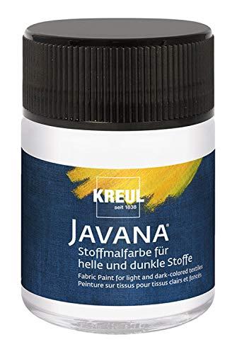 Kreul 91953 - Javana Stoffmalfarbe für helle und dunkle Stoffe, brillante Farbe auf Wasserbasis mit pastosem Charakter, 50 ml Glas, weiß