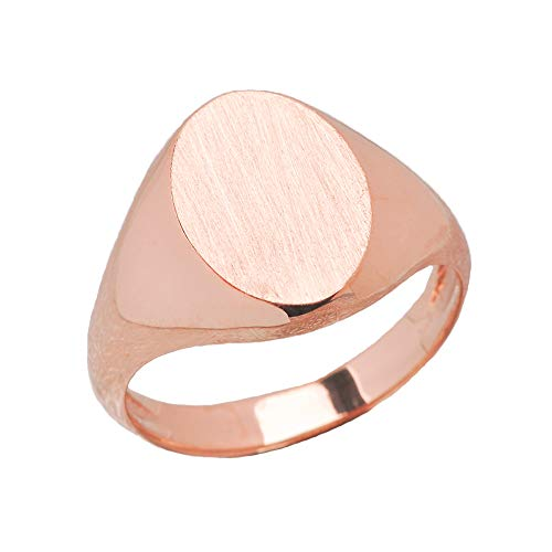 Men's Engravable Oval Signet Ring in Rose 9 ct Gold GII