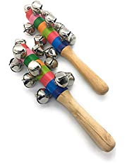 Sri Balajee Bangles Beautiful Handcrafted Bell Rattle Musical Instrument Toys for Kids (Multicolour) - Set of 2