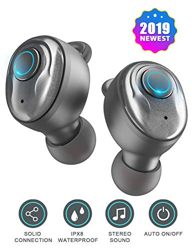 Wireless Earbuds Bluetooth Earbuds V5.0 with 3D Stereo Pro Sound, 17H Play Time, Noise Canceling Earphones with Built-in Mic and MONO Mode, IPX7 Waterproof, Calls Switch Quick Access to Siri