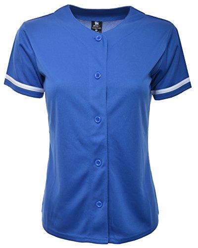 YoungLA Women Baseball Jersey Plain Button Down Shirt Tee 420 Blue Medium