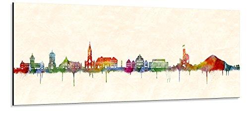 Acrylglas Wandbild Reutlingen Skyline/Panorama - Acrylglas mit Alu-dibond-Aufhängesystem - Farbe (div. Größen) - Kunst Druck auf Acrylglas 30x90cm
