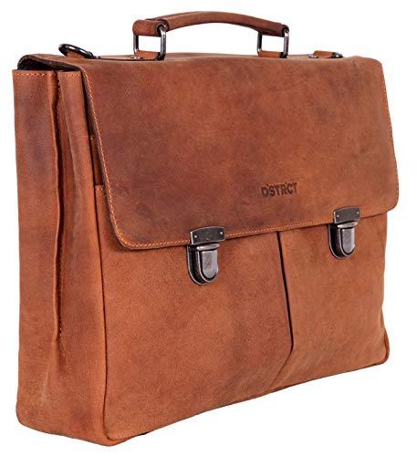 DSTRCT Wall Street lederen zakelijke aktentas - 15,4 inch laptoptas met ritssluiting, cognac (bruin) - 076220.30