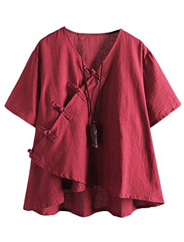 MatchLife Damen Leinen Tops Klassisches Vintage T-Shirt Chinesisch V-Ausschnitt Tunika Bluse Wein Fits EU 46-52