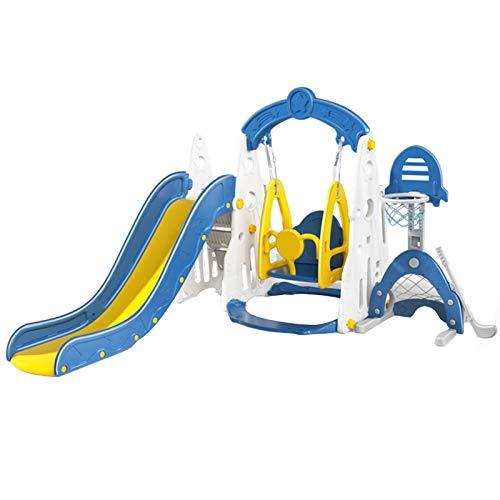 DUTUI Combinación De Columpio Y Tobogán para Niños Multifuncional Pequeño Hogar Interior Parque Infantil Juguete Baloncesto Fútbol Juego